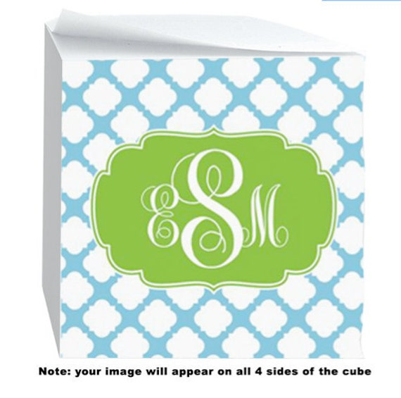 Personalized Sticky Post it Note Cubes- Quatrefoil Pattern on all 4 sides