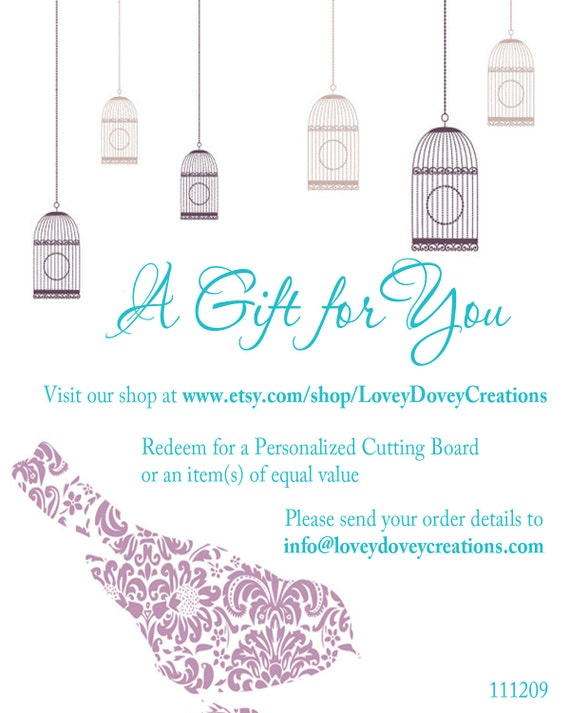 Gift Certificate- Personalized Cutting Board or any Personalized Item in our Shop