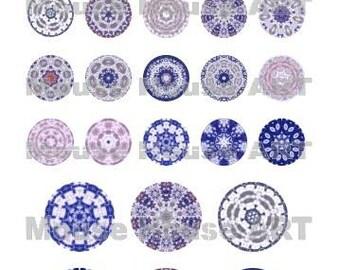 Cloud Mandalas - digital inchie and 2-inch mandalas sheet, art and pendant making