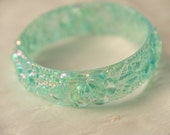 vintage bangle bracelet, iridescent sea green with flowers