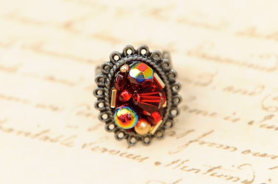 red beaded adjustable ring, antique silver filigree