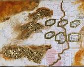 Wildacres 9, mixed-media/acrylic on canvas, map art