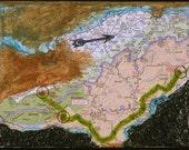 Wildacres, mixed-media/acrylic on canvas, map art