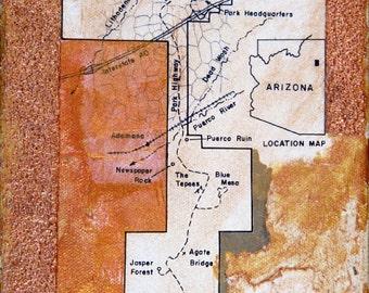 Location Map, mixed-media/acrylic on canvas, map art