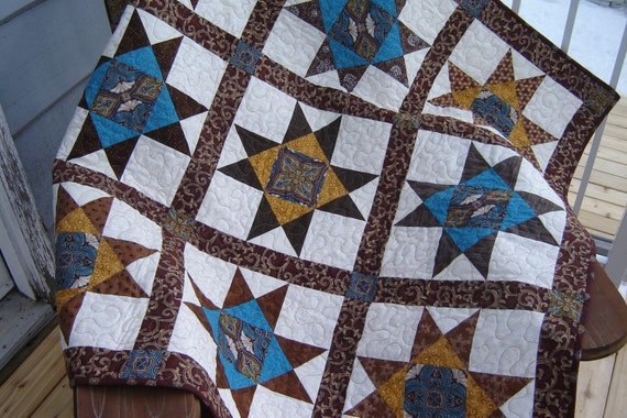 Mahogany and Teal Stars Quilted Table Topper