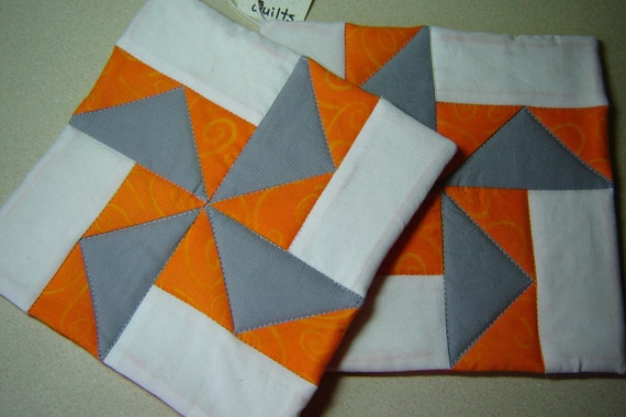 Orange Gray Quilted Pot Holders (Pair)