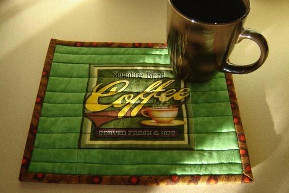 Coffee Mug Rug Quilted Green (SINGLE)