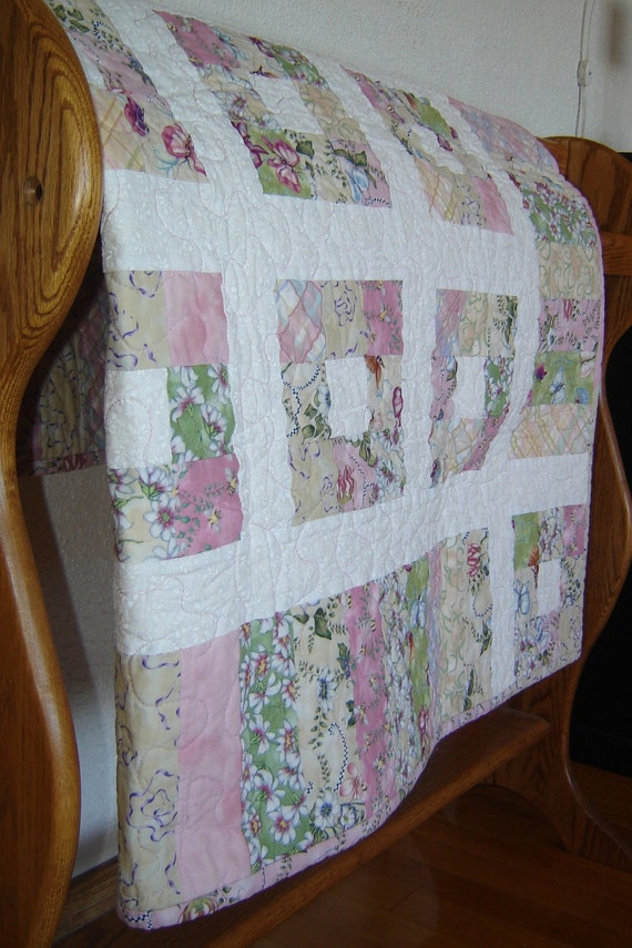 Pink Baby Girl Quilt - Modern 9-patch