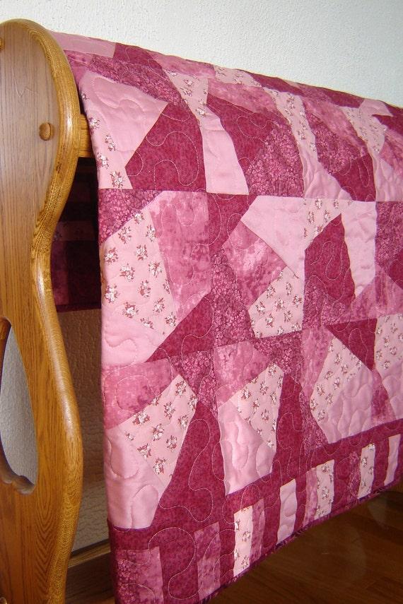 Pink Baby Girl Quilt - Plum Crazy patchwork quilt