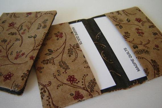 Tan Floral Cotton Business Card Holders (PAIR)