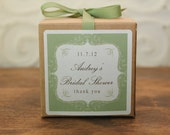 6 Personalized Favor Boxes - Bella Design in Sage - wedding favors, party favors, baby shower favors, bridal shower favors