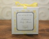 6 Personalized Favor Boxes - Damask Design in Yellow - wedding favors, party favors, baby shower favors, bridal shower favors