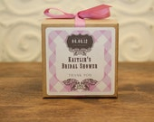 12 Favor Boxes with Personalized Labels - Kaitlin Design in Lilac - wedding favors, party favors, baby shower favors, bridal shower favors