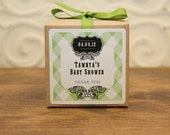 6 Favor Boxes with Personalized Labels - Kaitlin Design in Green - wedding favors, party favors, baby shower favors, bridal shower favors