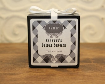 12 Favor Boxes with Personalized Labels - Kaitlin Design in Black - wedding favors, party favors, baby shower favors, bridal shower favors