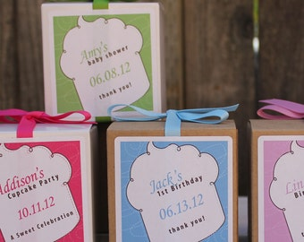 12 Whimsy Design Personalized Favor Boxes - ANY COLOR - wedding favors, party favors, baby shower favors, bridal shower favors
