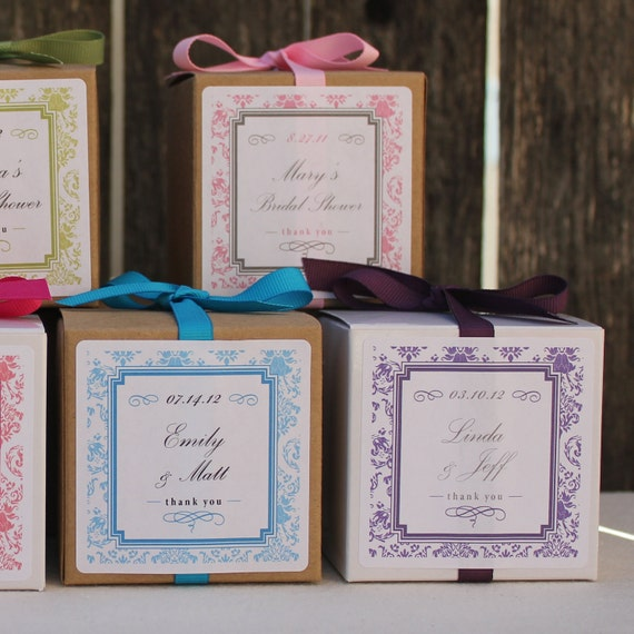 12  - Wedding Favor Boxes // Damask Design Personalized Favor Boxes - ANY COLOR - party favors, baby shower favors, bridal shower favors