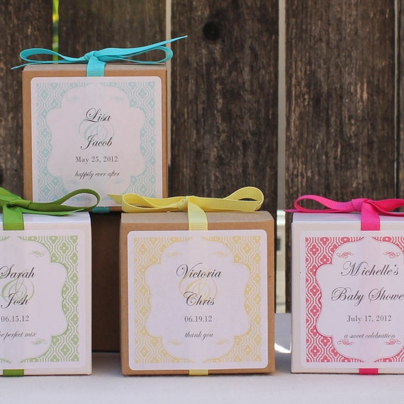 12 Taylor Design Personalized Favor Boxes - ANY COLOR - wedding favors, party favors, baby shower favors, bridal shower favors