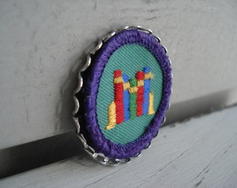 Silver Framed Vintage Girl Scout Badge Books Library Miniature Textile Artwork