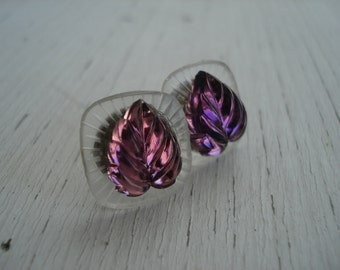 Vintage Antique Lalique Frosted and Foiled Amethyst Luminous Glass Leaves Cabochons Stud Pierced Earrings