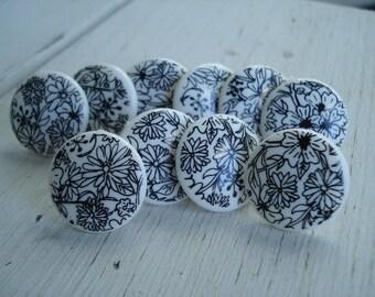 Black and White Vintage Cabochons Push Pins Thumb Tacks Set of 10