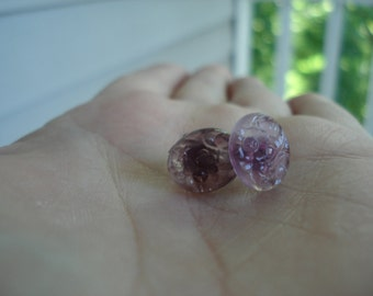 Vintage Purple Amethyst Carved Glass Cabochons Stud Pierced Earrings Translucent Flowers