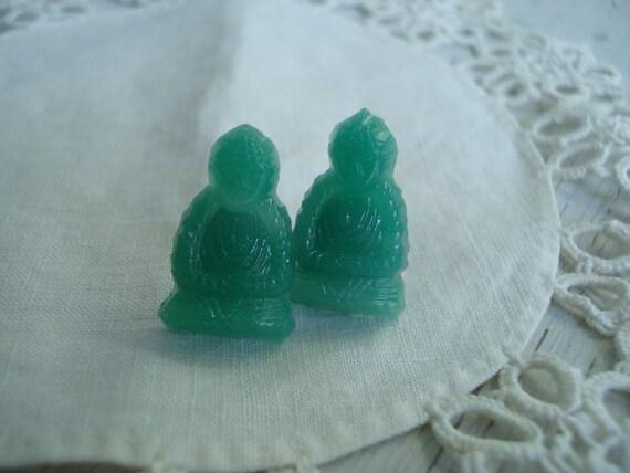 Vintage Jade Green Buddha Carved Glass Cabochons Stud Pierced Earrings