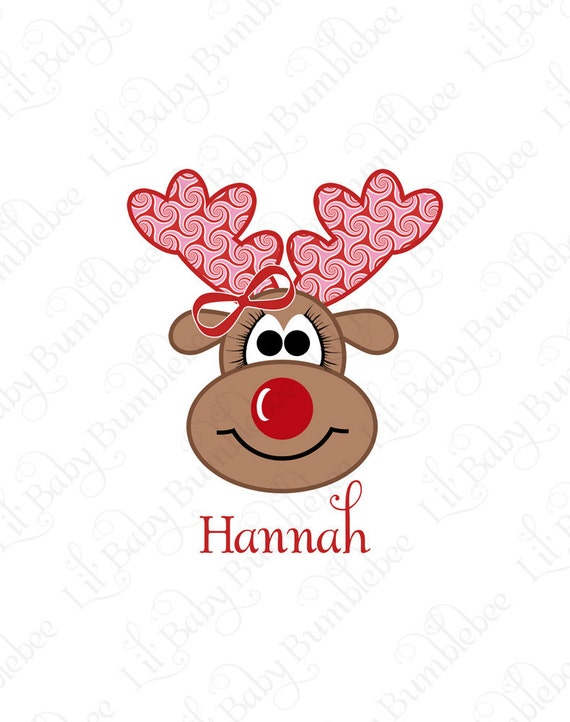 Christmas Shirt DIY Iron On Transfer for Girls - Custom Personalized Name Reindeer