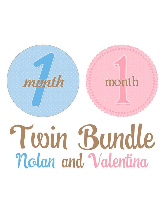 Monthly Onesie Stickers Twin Bundle - Nolan and Valentina - Buy 2 Sets and Save 10% - Great Photo Prop and Baby Shower Gift