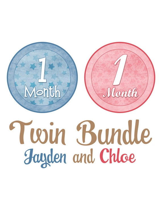Monthly Onesie Stickers Twin Bundle - Jayden and Chloe - Buy 2 Sets and Save 10% - Great Photo Prop and Baby Shower Gift