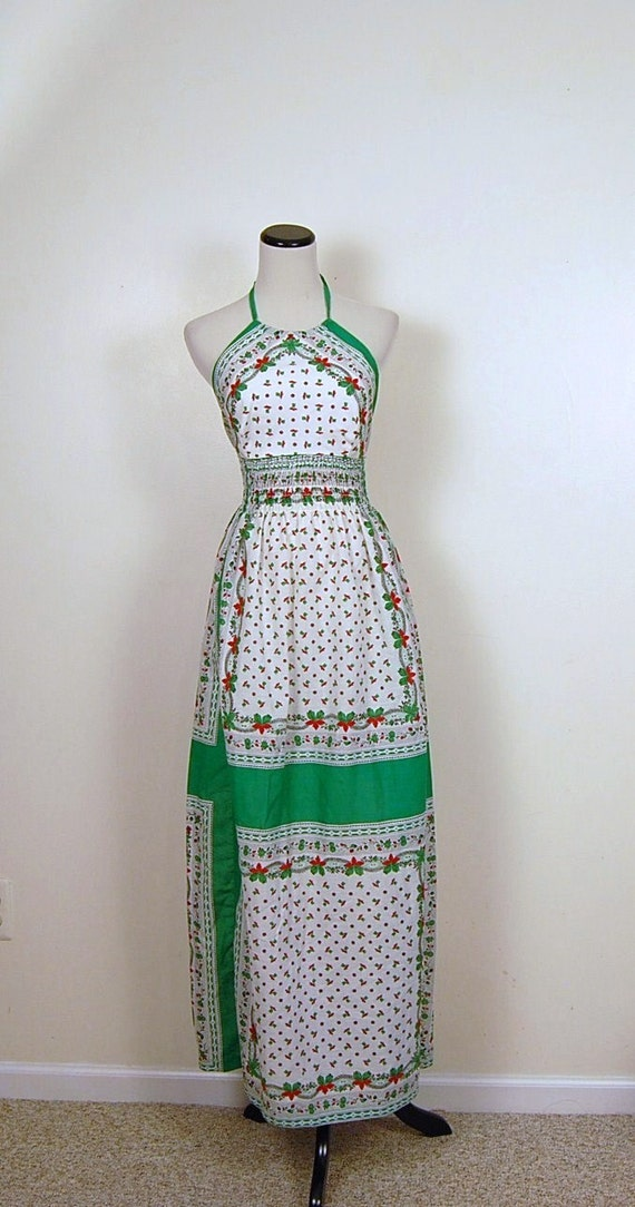 1970s Christmas Halter Dress