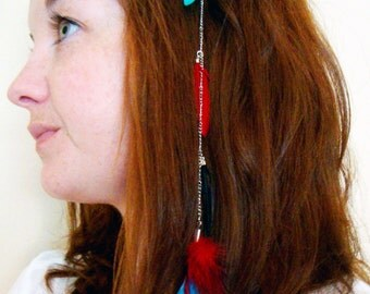 Turquoise, Red, and Black Feather Clip In Hair Extension