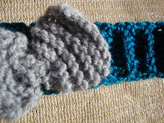 Turquoise Ribbed Crochet Headband with Grey Knitted Bow