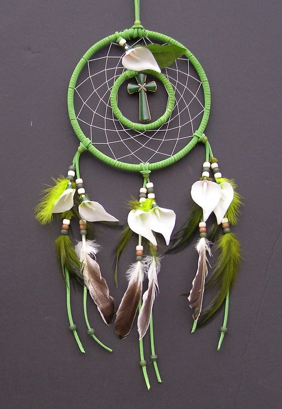 SALE PRICE  Easter Lilies Theme Double Dream Catcher- 7 inch