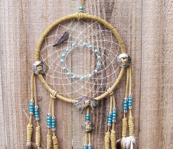 Buffalo Concho with Arrowhead Beige Dream Catcher- 7 inch
