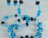 Lampwork Beads Blue & Black Set