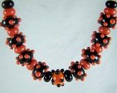 Lampwork Beads Mango & Black Set
