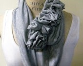 RESERVED LISTING FOR Lindsey...Ruffled infinity scarf in soft knit jersey grey