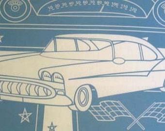 Cars Pillowcases/ Maynard's Mousetrap/ Vintage Automobile/ Blue Cars