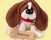 Basset Hound  / Dog / Puppy / Handmade Polymer Clay Personalized Christmas Ornament