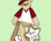 Baseball Belly  Bear HANDMADE POLYMER CLAY Personalized Christmas Ornament - Matte Finish
