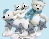 Polar Bear Family of 4 Handmade Polymer Clay Personalized Christmas Family Ornament