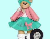 BELLY BEAR 50's Girl Handmade Polymer Clay Personalized Christmas Ornament
