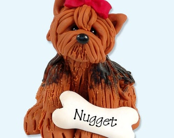 Yorkie / Dog / Puppy / Handmade Polymer Clay Personalized Christmas Ornament
