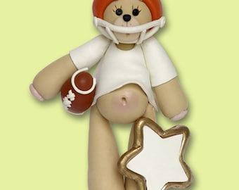 Orange Football Player Bear Personalized Ornament - MATTE FINISH - Handmade Polymer Clay