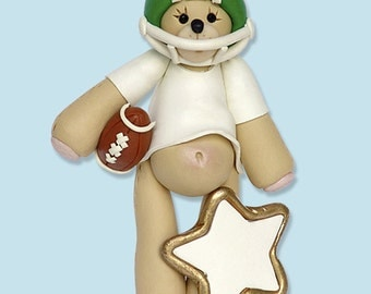 GREEN Football Player Bear Personalized Ornament - GLOSSY FINISH - Handmade Polymer Clay