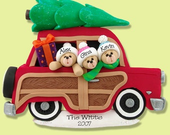 Belly Bear Family of 3 in Woody Wagon POLYMER CLAY Personalized Christmas Ornament