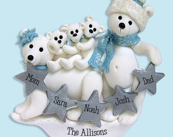 Polar Bear Family of 5 Polymer Clay Personalized Christmas Family Ornament