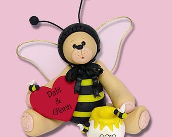 BELLY BEAR BEE Personalized Valentine Ornament Handmade Polymer Clay