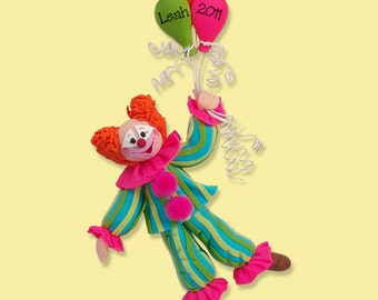 PERSONALIZED CLOWN / BIRTHDAY / Christmas Ornament Polymer Clay